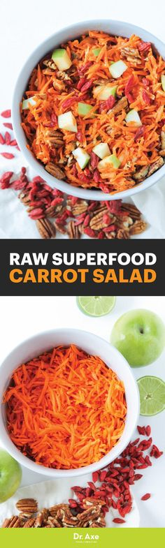 This Raw Superfood Carrot Salad is packed with nutritious ingredients. Superfood Salad, Superfood Recipes, Raw Vegan Recipes, Carrot Salad Recipes, Healthy Salad Recipes, Whole Food Recipes, Dairy Free Vegetable Recipes, Eating Raw, Healthy Eating