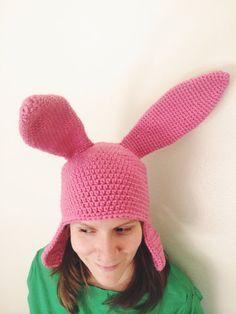 Louise Belcher hat crochet pattern.