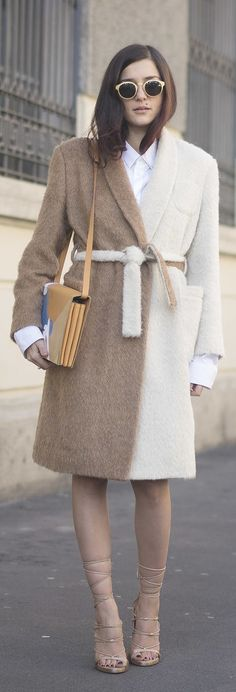 Milan Fashion Week street style: Eleonora Carisi in a tan and white coat and lace up sandals