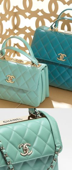 Chanel 2015 I LOVE LOVE LOVE LOVE THESE BAGS. WHO WANT TO BUY ME ONE? IT HAS THE CC AND MY FAVORITE COLOR
