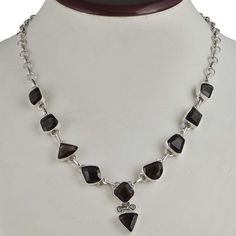 NEW FANCY STYLE 925 SOLID STERLING SILVER SMOKEY CUT NECKLACE 22.59g NK0075 #Handmade #NECKLACE