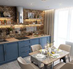 French Kitchen, Rustic Kitchen, Cashmere Kitchen, Exposed Brick Kitchen, Open Plan Kitchen Diner, Home Kitchens, Sweet Home, Interior Design, House