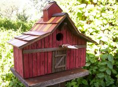Old Stained Cedar Barn Bird House 3935