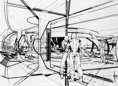 love the line weights in this Syd Mead sketch
