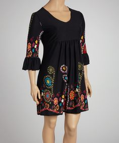 Another great find on #zulily! Reborn Collection Black Floral V-Neck Dress - Plus by Reborn Collection #zulilyfinds