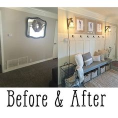 Happy Monday Here's a #beforeandafter to kick off the week! You can find the free plans for the bench, board and batten and free feather printables on our site! Sources tagged ❤️☕️ #shanty2chic (paint on wall: Fairmont Penthouse Stone by Valspar; Trim paint: Ivory Lace by Valspar). The cords are wrapped in rope and designed to be exposed.