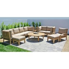 Outdoor Willow Creek Huntington 11 Piece Teak Patio Conversation Set with Chat Table Linen Sesame
