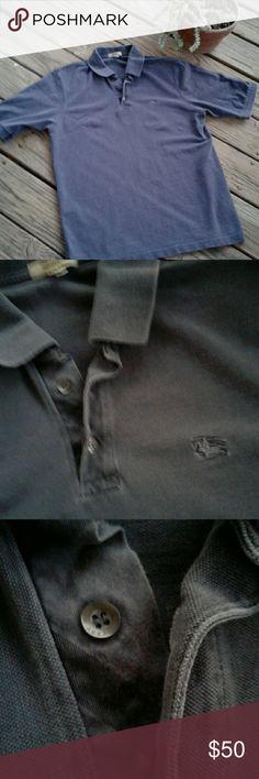 🎄Slate Blue Burberry Polo🎄 Gently worn men's Burberry slate blue (blue-gray) polo. 🐎 Burberry Shirts Polos