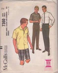 Vintage sewing patterns men's 60s Mad Men Don Draper slacks & shirts, McCall's 7360 MOMSPatterns