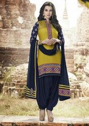 Casual Wear  Cotton Yellow Embroidered Work Patiala Suit