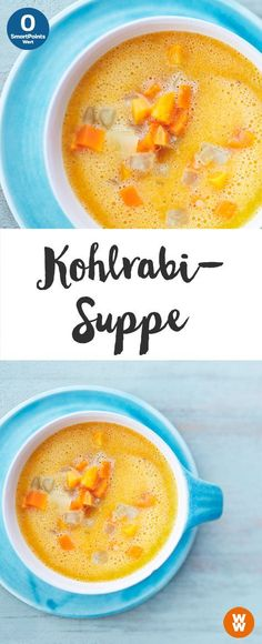Kohlrabi-Suppe 0 SmartPoints Suppe Weight Watchers fertig in 25 min Easy Soup Recipes, Low Carb Recipes, Vegetarian Recipes, Healthy Recipes, Healthy Soup, Vegetarian Diets, Weight Watcher Thermomix, Law Carb, Gourmet