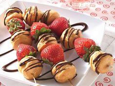 Strawberry Cream Puff Kebobs - Best desserts on a stick