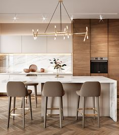 Kitchen Design with Marble backsplash soap stone countertops and white cabinets kitchenlayout Kitchen Room Design, Modern Kitchen Design, Home Decor Kitchen, Kitchen Living, Interior Design Kitchen, New Kitchen, Home Kitchens, Room Interior, Kitchen Ideas