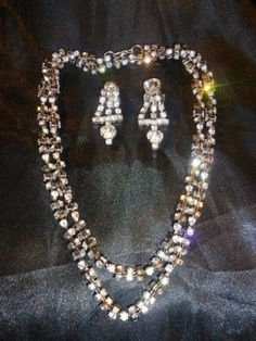 Vintage-925-Sterling-Silver-Rhinestone-Necklace-with-Clip-on-Earrings