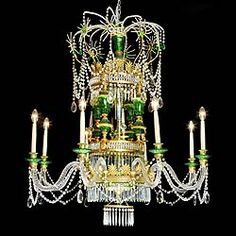 A large Russian-style, eight branch chandelier in the late eighteenth century Empire Neo Classical manner with fine ormolou, green glass and crystal branches, pendants and drops. 20th century.