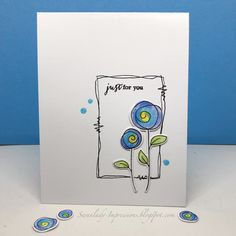 Do you like doodling? Then this week's CASology Challenge is for you! Our cue word is squiggle . I picked a stamp set that had a fun artsy. Cute Cards, Diy Cards, Card Drawing, Paint Cards, Watercolor Cards, Flower Cards, Creative Cards, Doodle Art, Homemade Cards