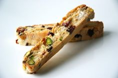 Cranberry, white chocolate and toasted pistachio biscotti