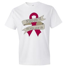 Show your fighting strength and hold on to hope with our line of Amyloidosis Never Give Up - Never Give In  T-Shirts on a banner affixed to a bold awareness ribbon #Amyloidosis #AmyloidosisShirts #AmyloidosisAwareness