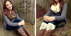 Adorable Matching Button Infinity scarf and Boot Cuffs On Jane.com today!