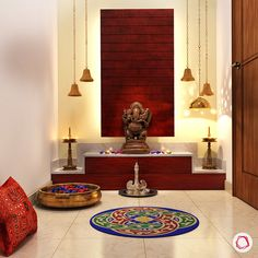 11 pooja room designs for small apartments. The small puja / mandir / temple designs comprise wall mounted units, shelf ideas and standalone cabinets. Interior Design Blogs, Room Interior, Design Interiors, Pooja Room Door Design, Home Room Design, House Design, Altar, Indian Home Interior, Indian Home Decor