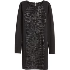 H&M Jersey dress (26 AUD) ❤ liked on Polyvore featuring dresses, long sleeve jersey, long sleeve short dress, textured dress, long sleeve cotton dress and longsleeve dress