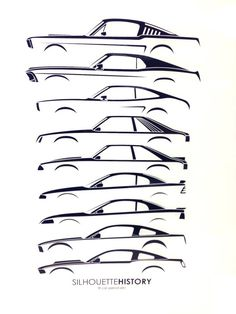 Silhouette History - Ford Mustang. Love this evolution graphic.