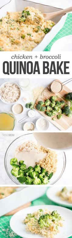 Chicken & Broccoli Quinoa Bake - This recipe is packed with protein to power… Diet Recipes, Chicken Recipes, Cooking Recipes, Healthy Recipes, Healthy Cooking, Healthy Eating, Healthy Food, Chicken Broccoli, Healthy Chicken