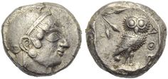 Attica, Athens, Tetradrachm, c. 500-480 BC; AR (g 17,87; mm 22; h 12); Archaic head of Athena r., wearing crested Attic helmet and earring, Rv. ΑΘΕ, owl standing r., head facing; behind, olive sprig; all within incuse square. Seltman group G; SNG Copenhagen 19. Lightly toned, about extremely fine - extremely fine.