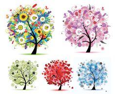 tree art | Seasons tree free vector graphics2 Seasons tree free vector graphics