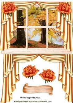 AUTUMN WINDOW SCENE WITH DRAPES AND ROSES on Craftsuprint - Add To Basket!