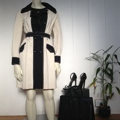 """⚡️SALE⚡️100% AUTH Vintage Missoni Cream/Black Coat 100% AUTHENTIC MISSONI.  One of the most beautiful coats I've ever seen.  It doesn't fit me.  I actually cried. 80'-90's Vintage Cream & black M Missoni belted pea coat w/double breasted snap black """"M"""" buttons & snap pockets.  Fits size 1-4, maybe 6-8 because of the very stretchy material.  This coat seems to have never been worn, in immaculate condition.  Even though it doesn't fit, I want to see what kind of offers I get but I don't mind…"""