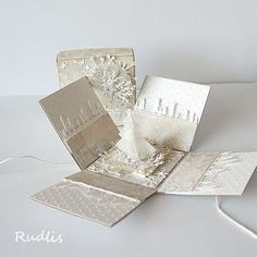 Christmas exploding box - champagne and white color combo - bjl