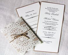 Rustic Country Shabby Chic Lace and Burlap Twine Wedding Invitation Sample Listing