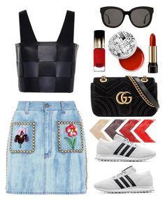 """""""Embellished denim skirt Gucci"""" by thestyleartisan ❤ liked on Polyvore featuring Gucci, Marco de Vincenzo, adidas Originals, Gentle Monster, L'Oréal Paris and Lancôme"""