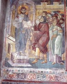 The frescoes of the cathedral Protata in Kars, Athos. Byzantine Icons, Byzantine Art, Fresco, Life Of Christ, Orthodox Icons, Medieval Art, Sacred Art, Christian Art, Archaeology