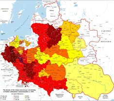 Population density per voivodeships in the Polish–Lithuanian Commonwealth in 1650