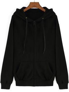 Black Hooded Long Sleeve Pockets Loose Sweatshirt  , 40% Off 1st Order