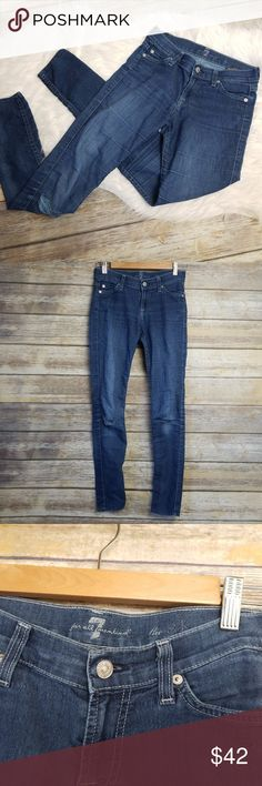 """7FAM Seven For All Mankind The Skinny Distressed 7FAM Seven For All Mankind The Skinny Medium Wash Distressed Jeans Size 24  No rips, stains, smoke free home.   Hip to hip: 14"""" Rise: 8"""" Inseam: 28.5""""  64% cotton 32% polyester 4 % spandex 7 For All Mankind Jeans Skinny"""
