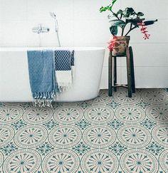 Tile Decals - Tiles for Kitchen/Bathroom Back splash - Floor decals - Hand Painted Italian Chiave Vinyl Tile Sticker Pack color Teal & Cream