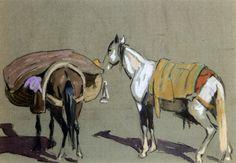 Deux chevaux marocains von Edouard Edmond Doigneau