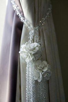 jewel of a tieback Cottage Curtains, Shabby Chic Curtains, Drapes Curtains, Sewing Curtains, Rustic Curtains, Curtain Tie Backs Diy, Curtain Ties, Classy Living Room, Desi Wedding Dresses