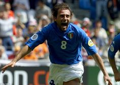 Conte celebrates after opening the scoring for Italy in their 2-1 win against Turkey in the Euro 2000 group stages