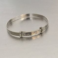 Vintage Sterling Silver Children S Expanding Flower Bangle Art Deco Style Fl Pee Baby Bracelet Adjule Slide Eternity Jewelry