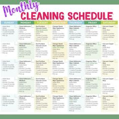 Daily Cleaning Schedules and Checklists Need a SIMPLE weekly cleaning schedule for working moms OR for stay at home moms? These daily weekly and monthly house cleaning schedules are perfect cleaning motivated to keep your house clean. Monthly Cleaning Schedule, Clean House Schedule, Weekly Cleaning, Deep Cleaning Tips, House Cleaning Tips, Cleaning Solutions, Spring Cleaning, Cleaning Hacks, Cleaning Lists