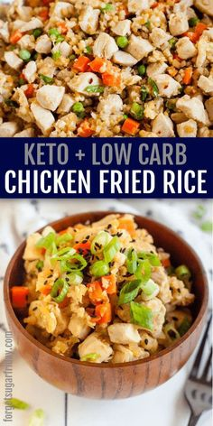 Keto Fried Rice and Chicken - Keto + Low Carb Chicken Fried Rice takeout copycat! This low carb takeout (keto takeout) copycat re - Healthy Chinese Recipes, Healthy Low Carb Recipes, Low Carb Dinner Recipes, Healthy Foods To Eat, Low Carb Keto, Lunch Recipes, Diet Recipes, Keto Chinese Food, Low Cholesterol Recipes Dinner
