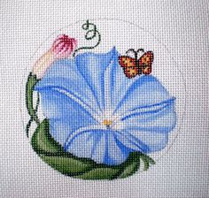 Handpainted Blue Morning Glory needlepoint canvas by colors1 (Craft Supplies & Tools, Sewing & Needlecraft Supplies, Canvas & Stitchables, ornament, pattern, flower, morning glory, blue, garden, cross stitch, embroidery, needlecraft, needlepoint, needlepoint canvas, needlepoint pillow, needlepoint pattern)