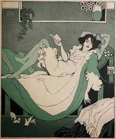 Woman reading (c.1912). Karl Alexander Wilke (1879 Leipzig - 1954 Wien). Wilke was a German-Austrian painter, illustrator and stage designer. From 1905 to 1918 he was a staff member of the Austrian humour/men's magazine, Die Musketethe.