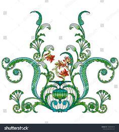 Digital Textile Design Ornaments Flowe … stock illustrations, images and vectors - Modern Textiles, Textile Prints, Textile Design, Border Pattern, Border Design, Paisley Pattern, Paisley Art, Esoteric Art, Baroque Pattern
