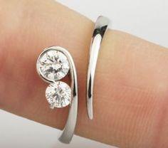 modern two stone diamond engagement ring R2D003