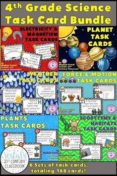 4th-grade science task cards include electricity and magnetism, planets, weather, force and motion, plants, and ecosystems. 28 task cards, a student response worksheet, and an answer key are included with each of the 6 task card sets.  #vestals21stcenturyclassroom #4thgradescience #4thgradesciencetaskcards #electricitytaskcards #planettaskcards #weathertaskcards #forceandmotiontaskcards #plantstaskcards #ecosystemstaskcards